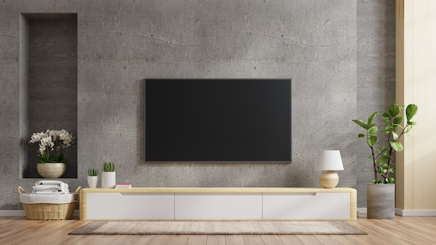 Tv ścienny na szafce w nowoczesnym salonie betonowa ściana, renderowanie 3d