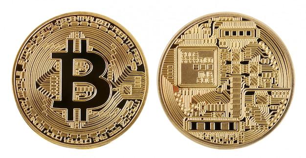 Twarz i tył złotej bitcoiny kryptowalutowej