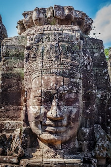 Twarz świątyni bayon, angkor, kambodża
