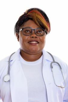 Twarz szczęśliwy lekarz kobieta uśmiecha się