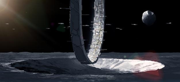 Twierdza ludzkiego pierścienia na zewnętrznej planecie, ilustracja science fiction.