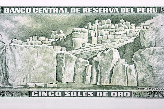 Twierdza sacsayhuaman ze starych peruwiańskich pieniędzy