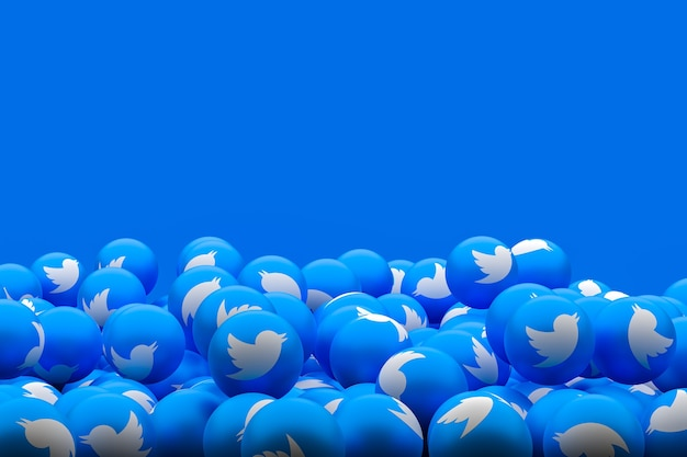 Twitter social media emoji 3d renderowanie tła, symbol balonu mediów społecznościowych