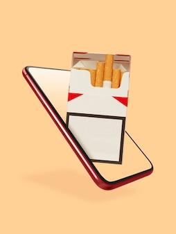 Twój smartfon lub inne urządzenie - wszystko, czego potrzebujesz do nowoczesnego stylu życia. miejsce na reklamę. zakupy, dostawa towarów, koncepcja zakupów online i usług. paczka papierosów na ekranie dotykowym smartfona.