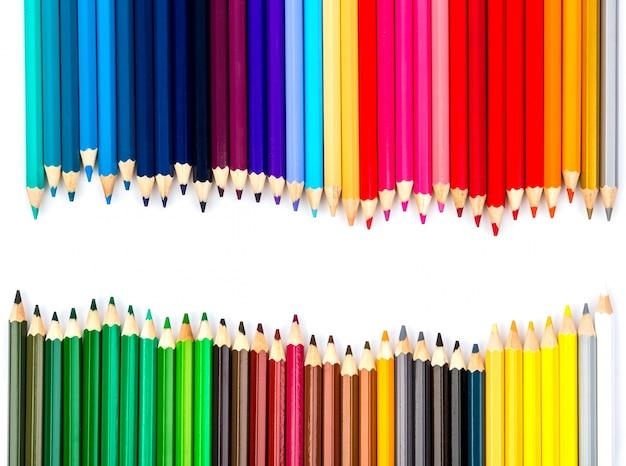 Twórcze tło z kolorowymi kredkami
