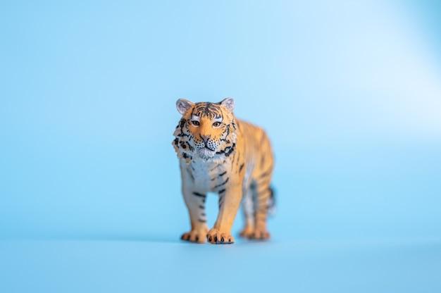 Tygrys, symbol 2022 roku. plastikowa pomarańczowa zabawka figurka tygrysa na niebieskim tle