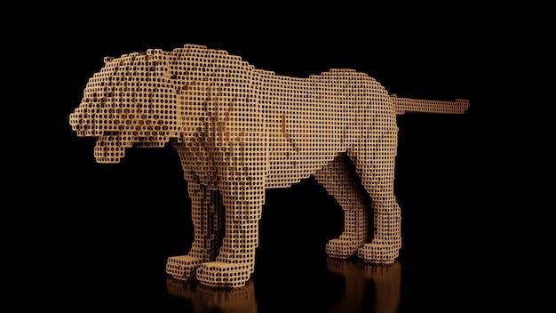 Tygrys wykonany z wielu kostek na czarnej jednolitej przestrzeni. konstruktor elementów sześciennych. sztuka świata dzikich zwierząt we współczesnym wykonaniu. renderowania 3d.