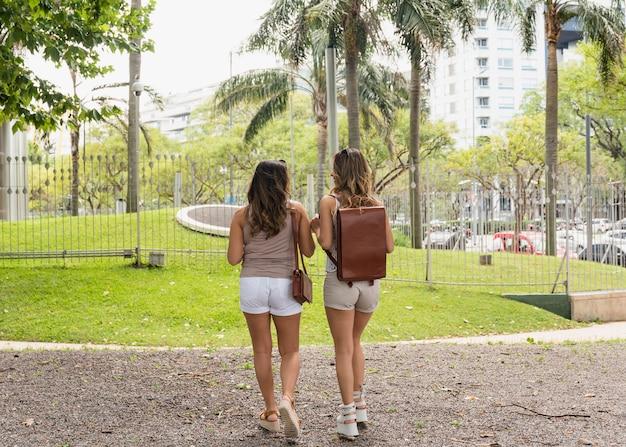 Tylni widok dwa kobiet turysta w parku