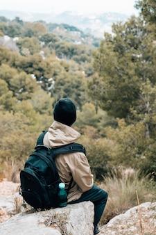 Tylni widok męski wycieczkowicz patrzeje scenicznego widok