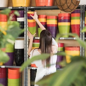 Tylni widok młoda kobieta umieszcza kolorowe kwiatonośne rośliny w półce