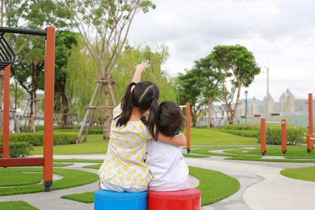 Tylny widok azjatyckiej siostry siedzącej i przytulającej młodszego brata za szyję w ogrodzie ze wskazaniem, aby spojrzeć w górę w parku.