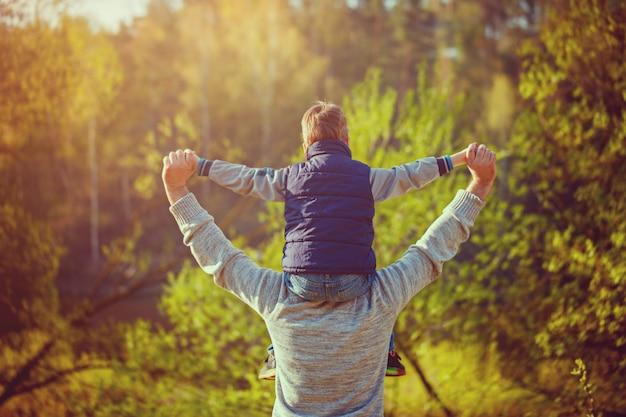 Tylny widok ojca jego syn na ramionach na naturze.