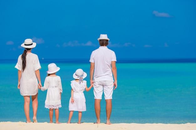 Tylny widok piękna rodzina na plaży podczas wakacje