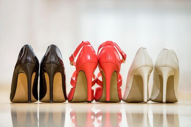 Tylny widok trzy pary modnej wygodnej szpilki kobiety rzemienni buty odizolowywający na światło kopii przestrzeni. styl i moda, nowoczesna koncepcja obuwia.