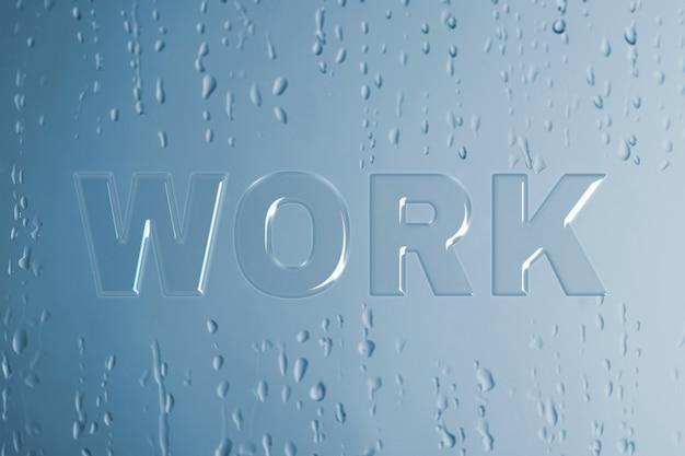 Typografia pracy w mokrym szkle czcionki