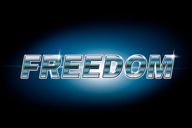 Typografia wolności w czcionce flary obiektywu