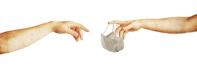 Typowa maska chirurgiczna do zakrywania ust, nosa. koncepcja ochrony przed koronawirusem.