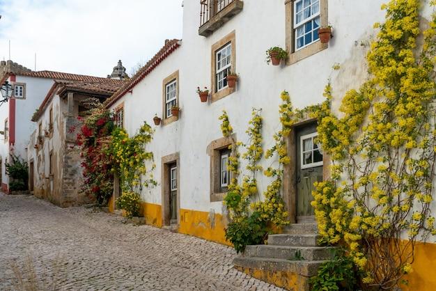 """Typowa ulica średniowiecznej wioski """"bidos w portugalii"""""""