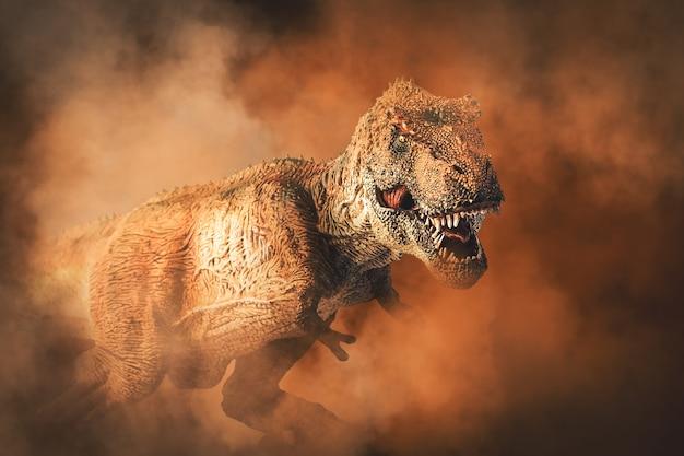 Tyrannosaurus t-rex, dinozaur na tle dymu