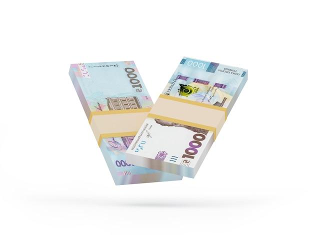 Tysiąc banknotów hrywny ukraińskiej waluty 3d