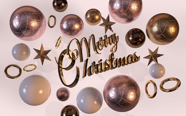 Tytuł wesołych świąt ze złotymi gwiazdami i dekoracjami
