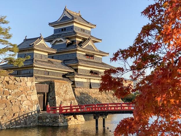 Tytułowy zamek matsumoto z liśćmi klonu jesienią w nagano, japonia