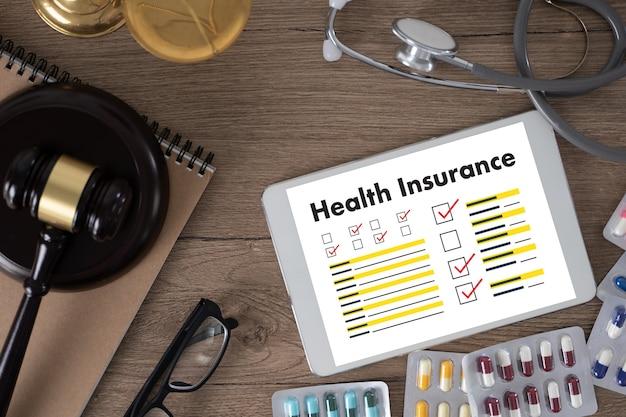Ubezpieczenie zdrowotne formularz roszczenia i koncepcja ubezpieczenia zdrowotnego sprzętu medycznego na całe życie