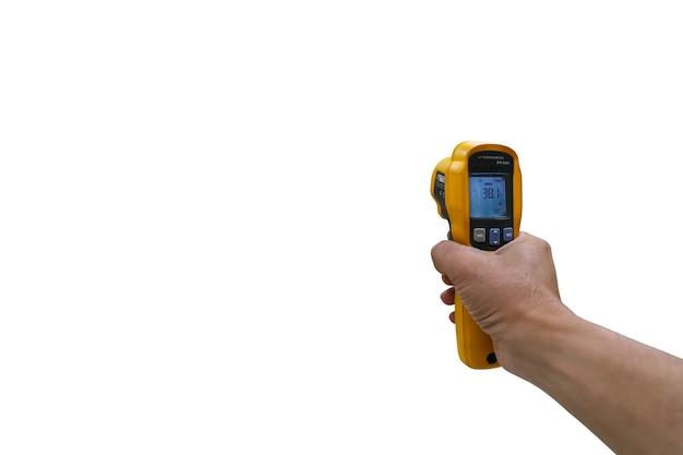 Uchwyt narzędzia thermoscan do pomiaru temperatury na białym tle