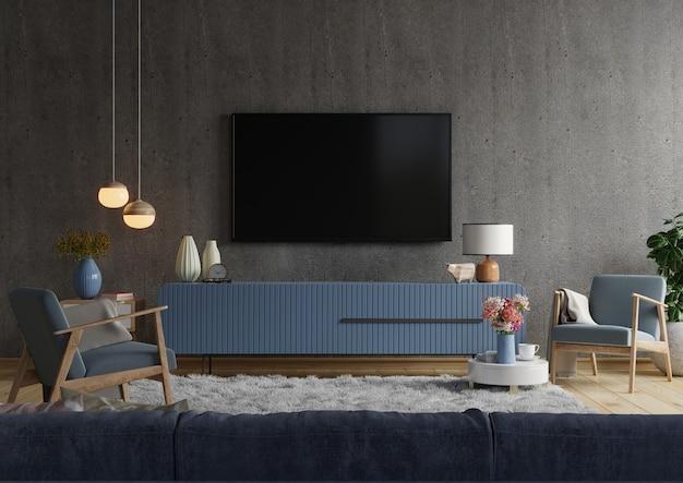 Uchwyt ścienny do telewizora na szafce w nowoczesnym salonie na betonowej ścianie, renderowanie 3d