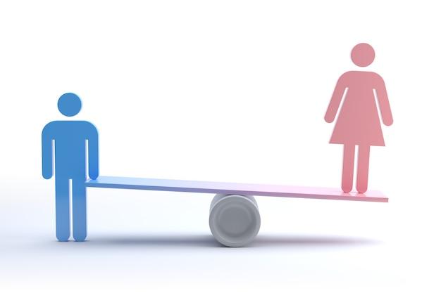 Uciskana kobieta, koncepcja feminizmu i dyskryminacji. renderowanie 3d