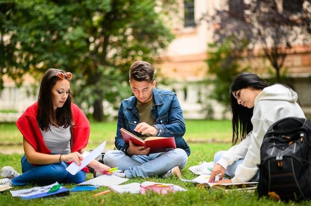 Uczniowie siedzą na trawie i razem uczą się w parku