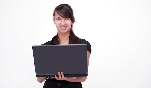Udany biznes patrząc na ekran laptopa