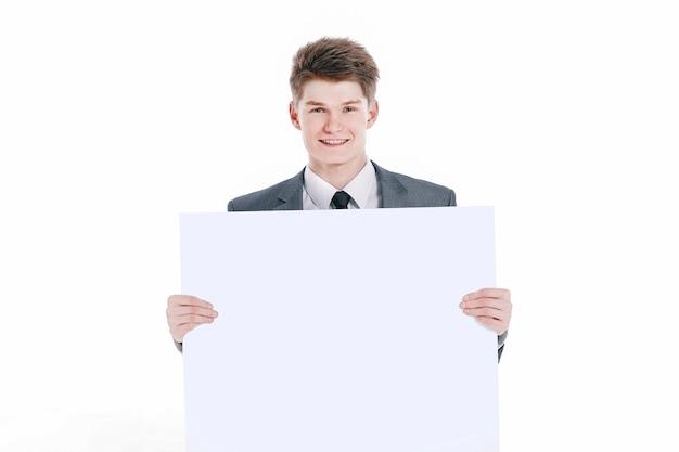 Udany młody biznesmen z pustym hasłem. na białym tle na białym tle