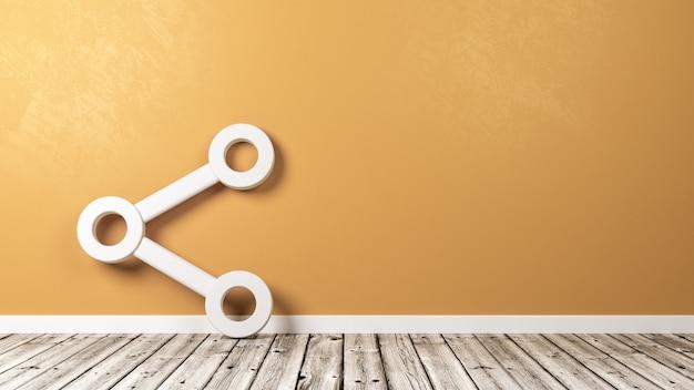 Udostępnij symbol na drewnianej podłodze przy ścianie