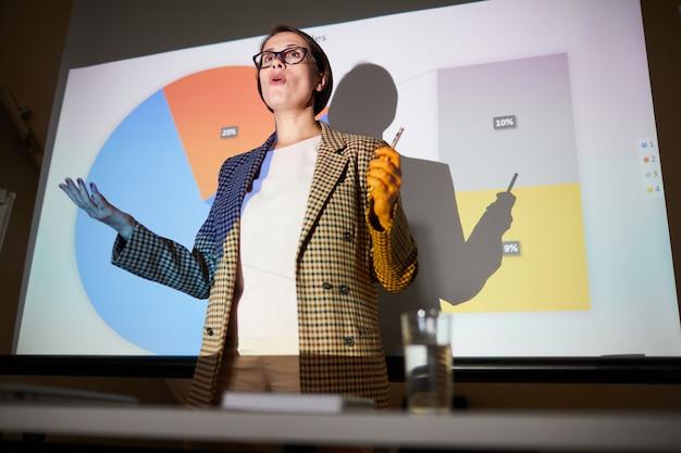 Ufna dama wyjaśnia dane na ekranie projekcyjnym