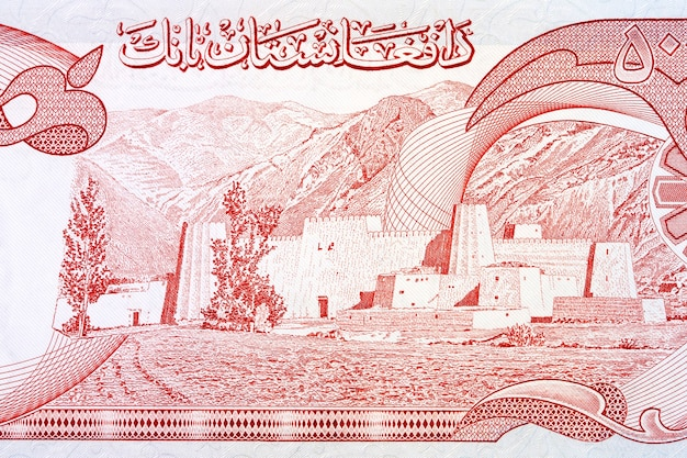 Ufortyfikowana wioska plemienna z afgańskich pieniędzy