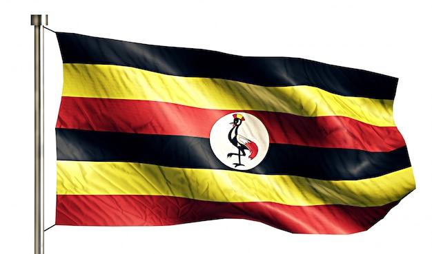 Uganda flaga narodowa pojedyncze 3d białe tło