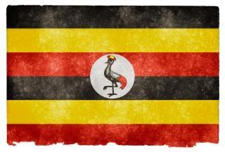 Uganda grunge czerwona flaga
