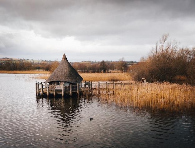 Ujęcie drewnianej chaty zbudowanej na jeziorze otoczonym brązową trzciną rzeczną