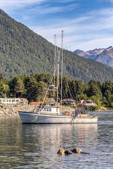 Ujęcie łodzi rybackiej płynącej w porcie w sitka
