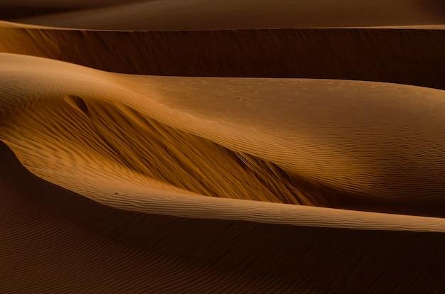Ujęcie pięknych złotobrązowych wydm na pustyni