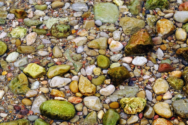 Ujęcie plaży pełnej kolorowych kamieni