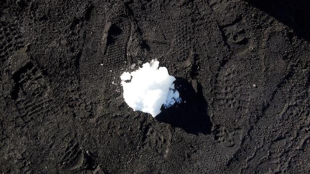 Ujęcie z góry odrobiny śniegu nad czarną glebą