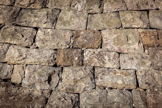 Ukamienowana tekstura zbliżenie starej tekstury skały naturalnej tekstury cegły tła p