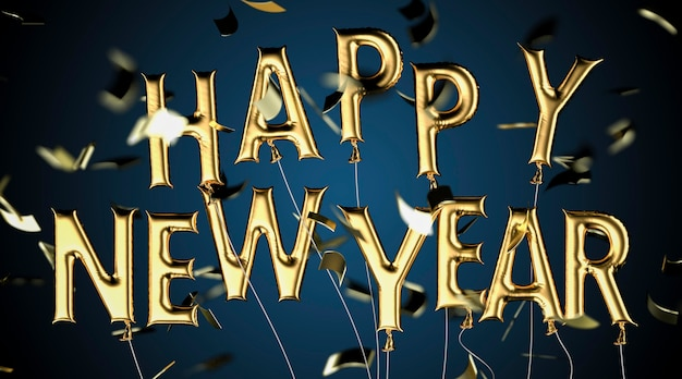 Układ balonów szczęśliwego nowego roku