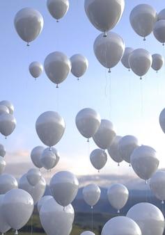Układ balonów z pięknym widokiem
