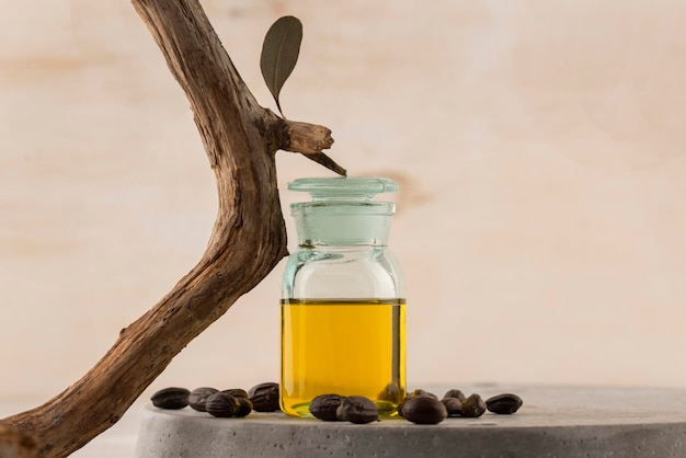 Układ butelki oleju jojoba