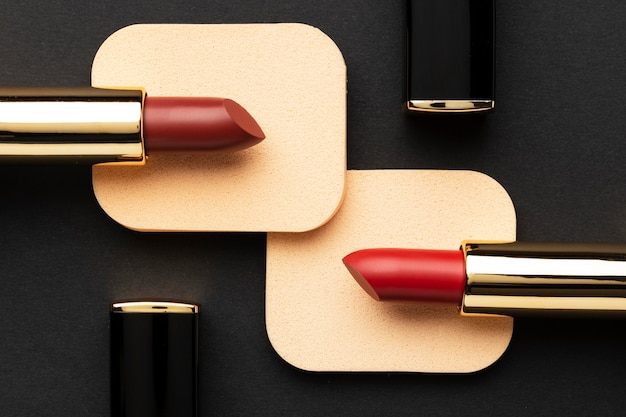 Układ czerwone szminki powyżej widoku