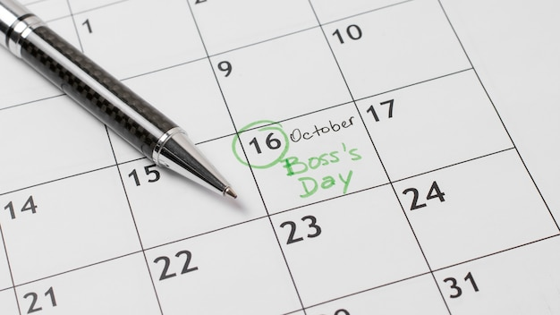 Układ dnia szefa wysokiego kąta w kalendarzu
