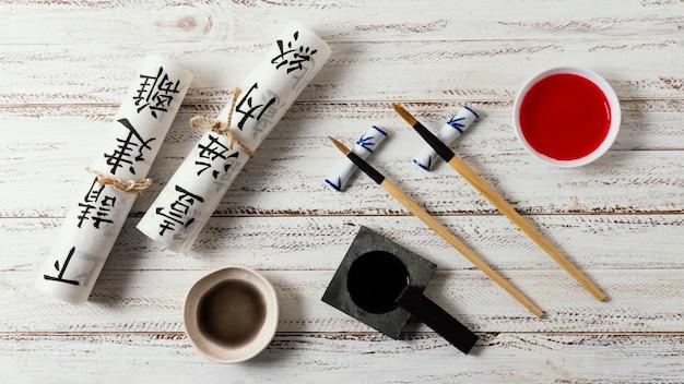 Układ elementów chińskiego atramentu